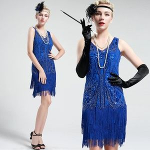 Cobalt Blue Sleeveless Flapper Beaded and Sequined